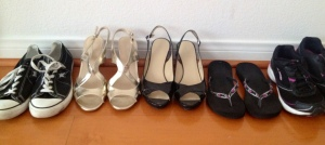 five pairs of shoes